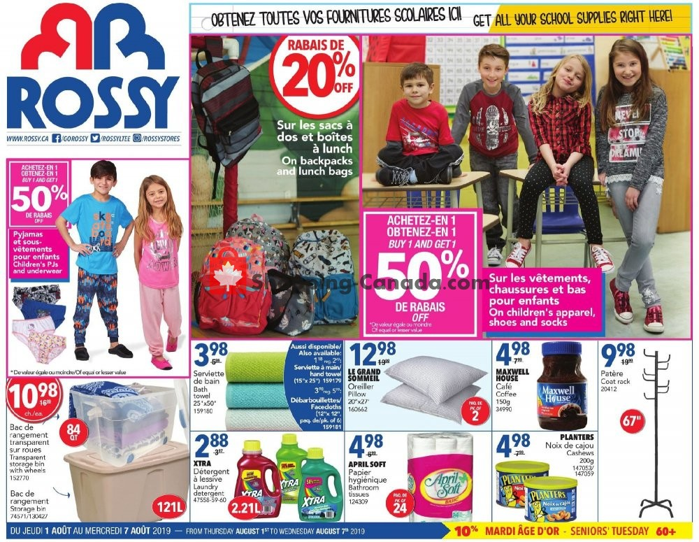 Flyer Rossy Canada - from Thursday August 1, 2019 to Wednesday August 7, 2019