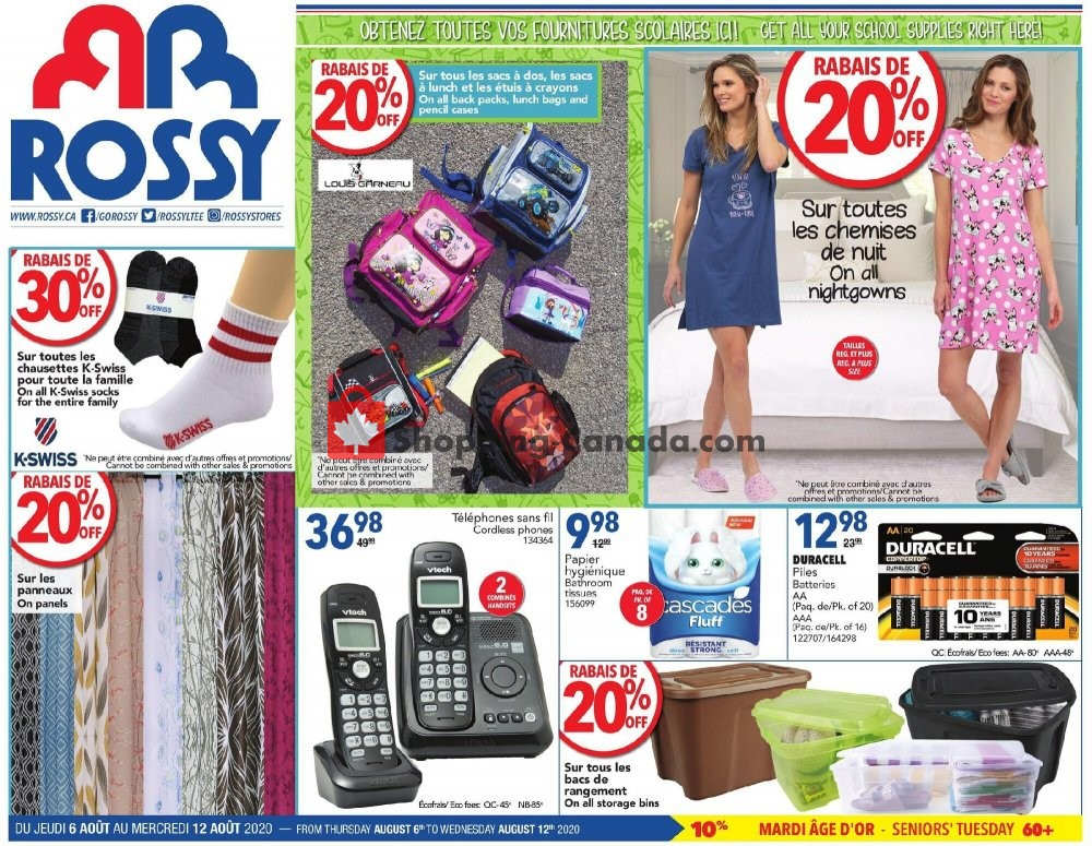 Flyer Rossy Canada - from Thursday August 6, 2020 to Wednesday August 12, 2020