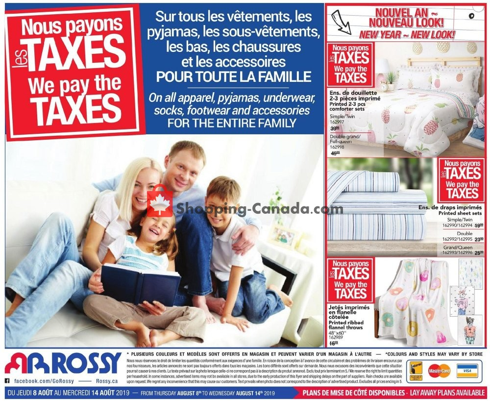 Flyer Rossy Canada - from Thursday August 8, 2019 to Wednesday August 14, 2019