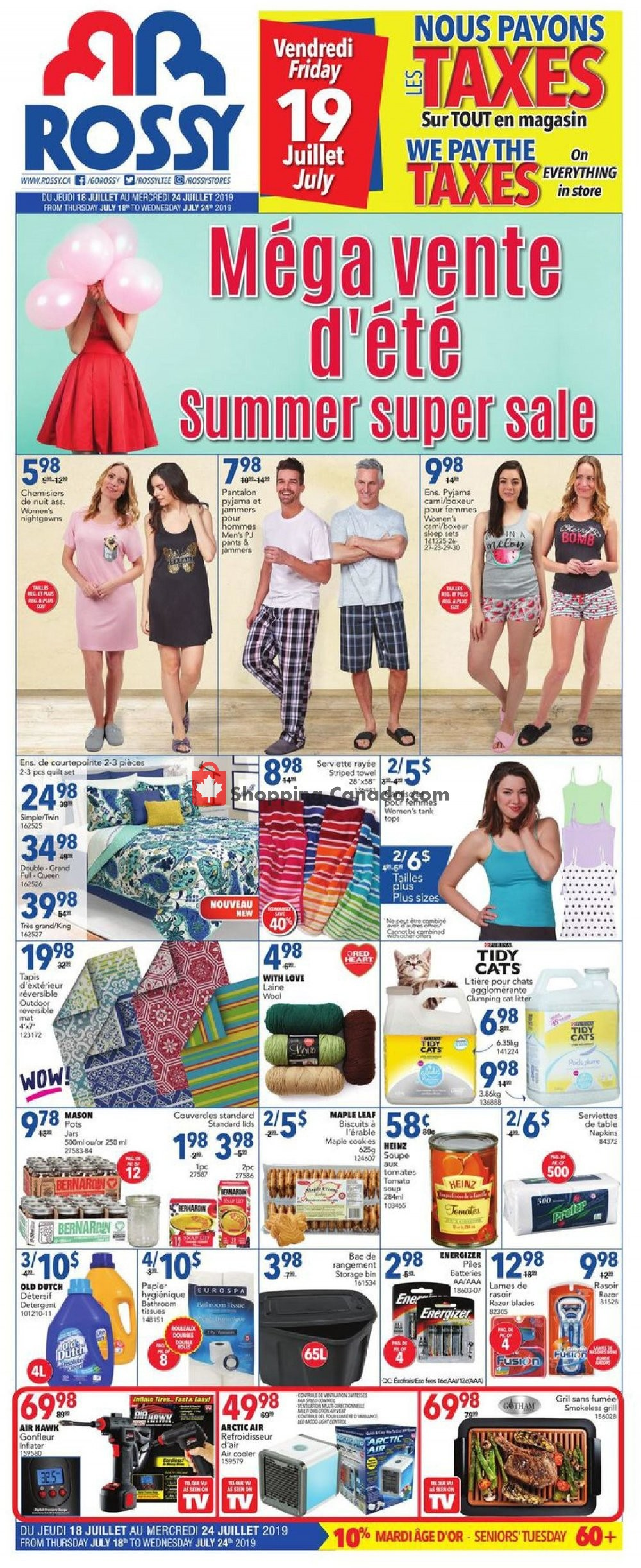 Flyer Rossy Canada - from Thursday July 18, 2019 to Wednesday July 24, 2019