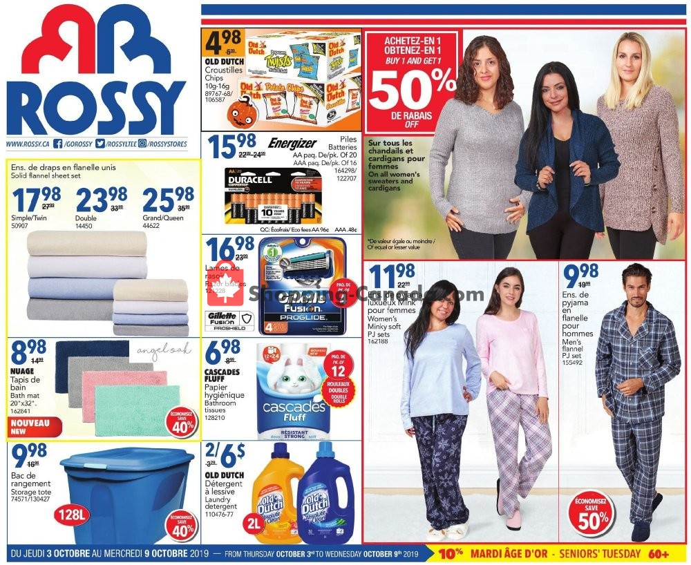 Flyer Rossy Canada - from Thursday October 3, 2019 to Wednesday October 9, 2019