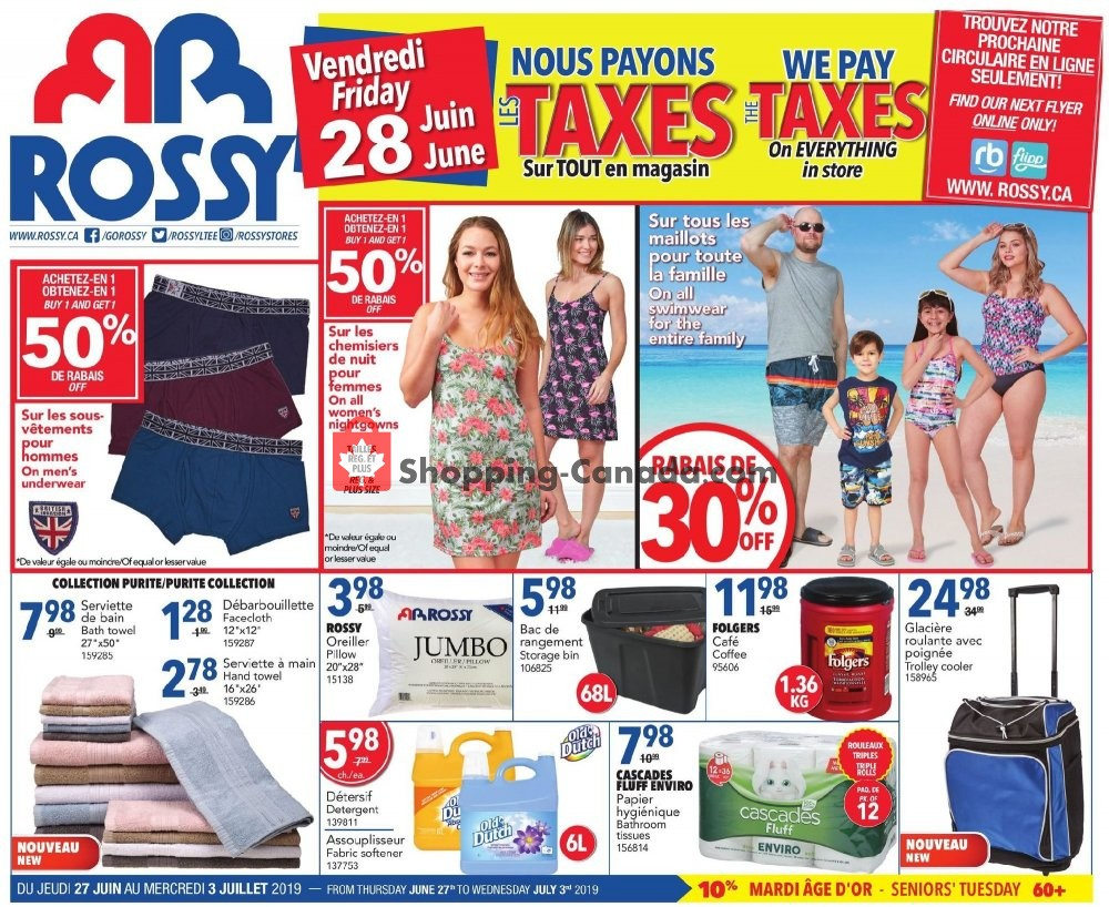Flyer Rossy Canada - from Thursday June 27, 2019 to Wednesday July 3, 2019