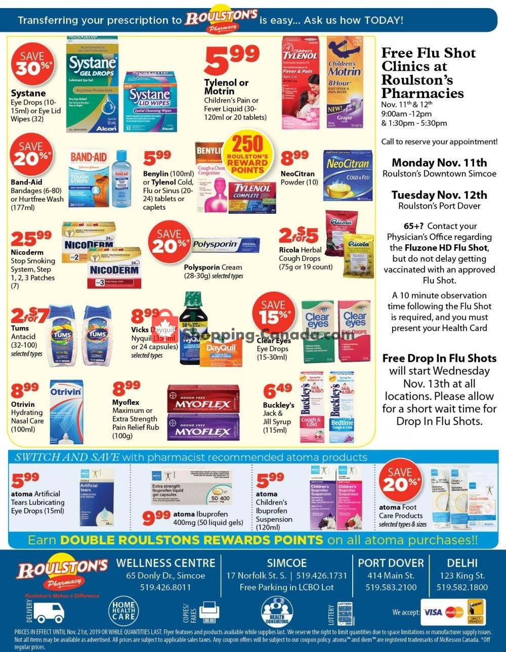 Flyer Roulston's Pharmacy Canada - from Friday November 8, 2019 to Thursday November 21, 2019