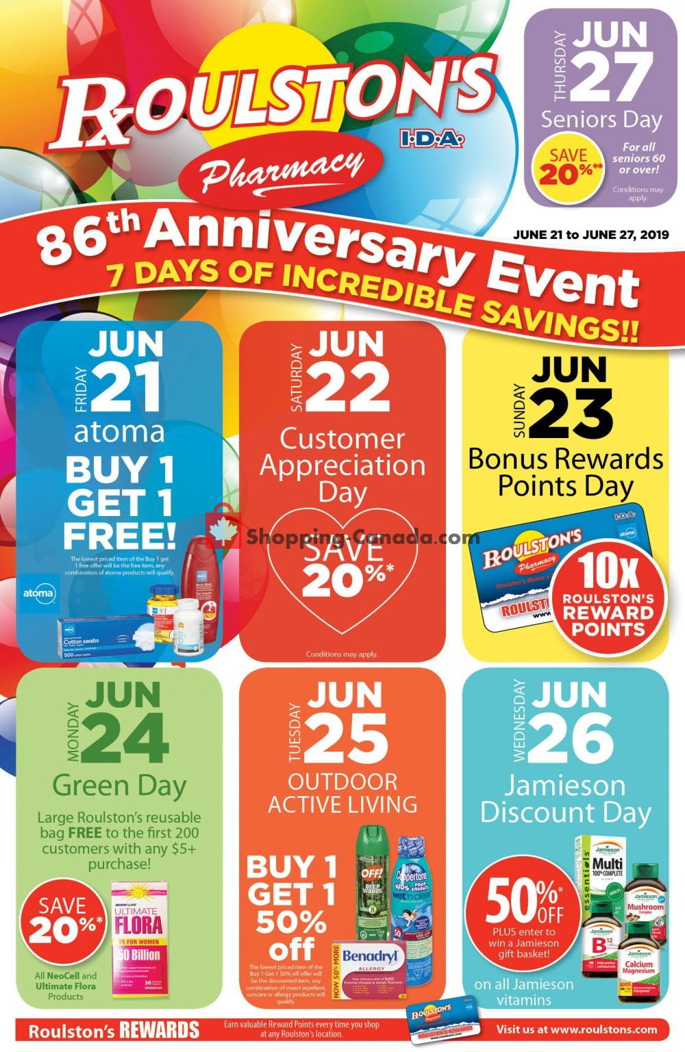 Flyer Roulston's Pharmacy Canada - from Friday June 21, 2019 to Thursday June 27, 2019