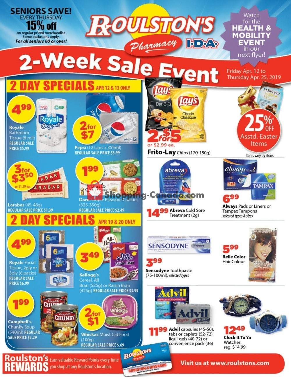 Flyer Roulston's Pharmacy Canada - from Friday April 12, 2019 to Thursday April 25, 2019