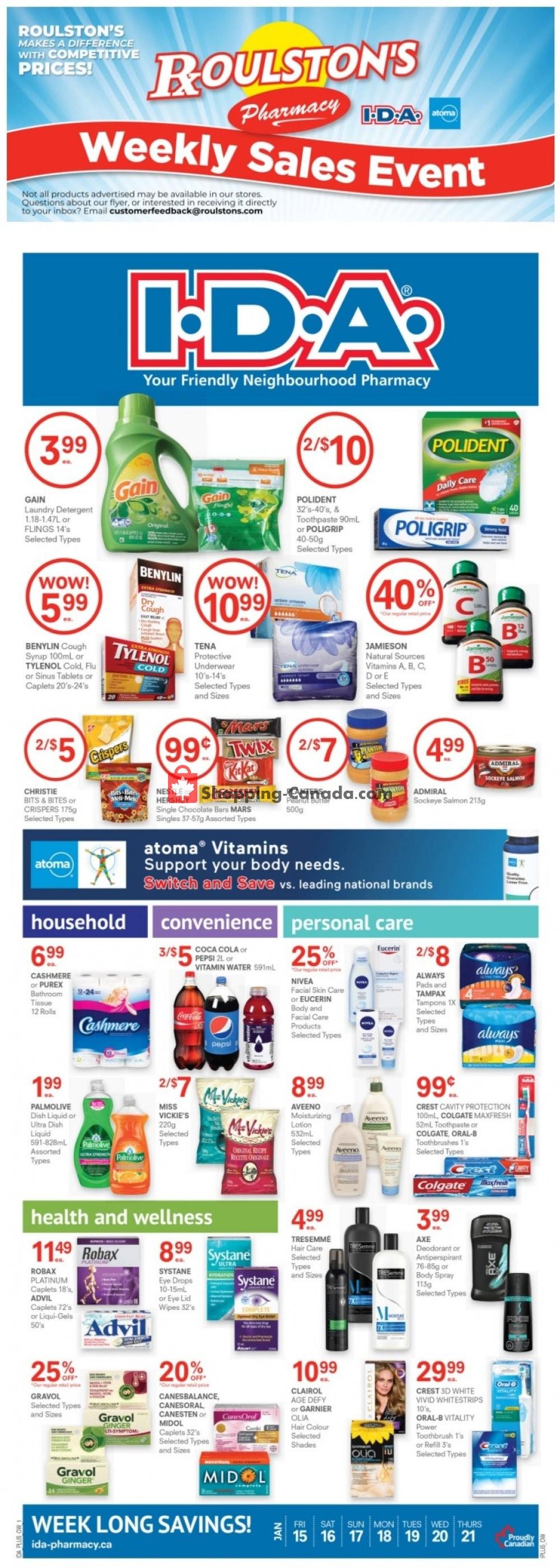 Flyer Roulston's Pharmacy Canada - from Friday January 15, 2021 to Thursday January 21, 2021