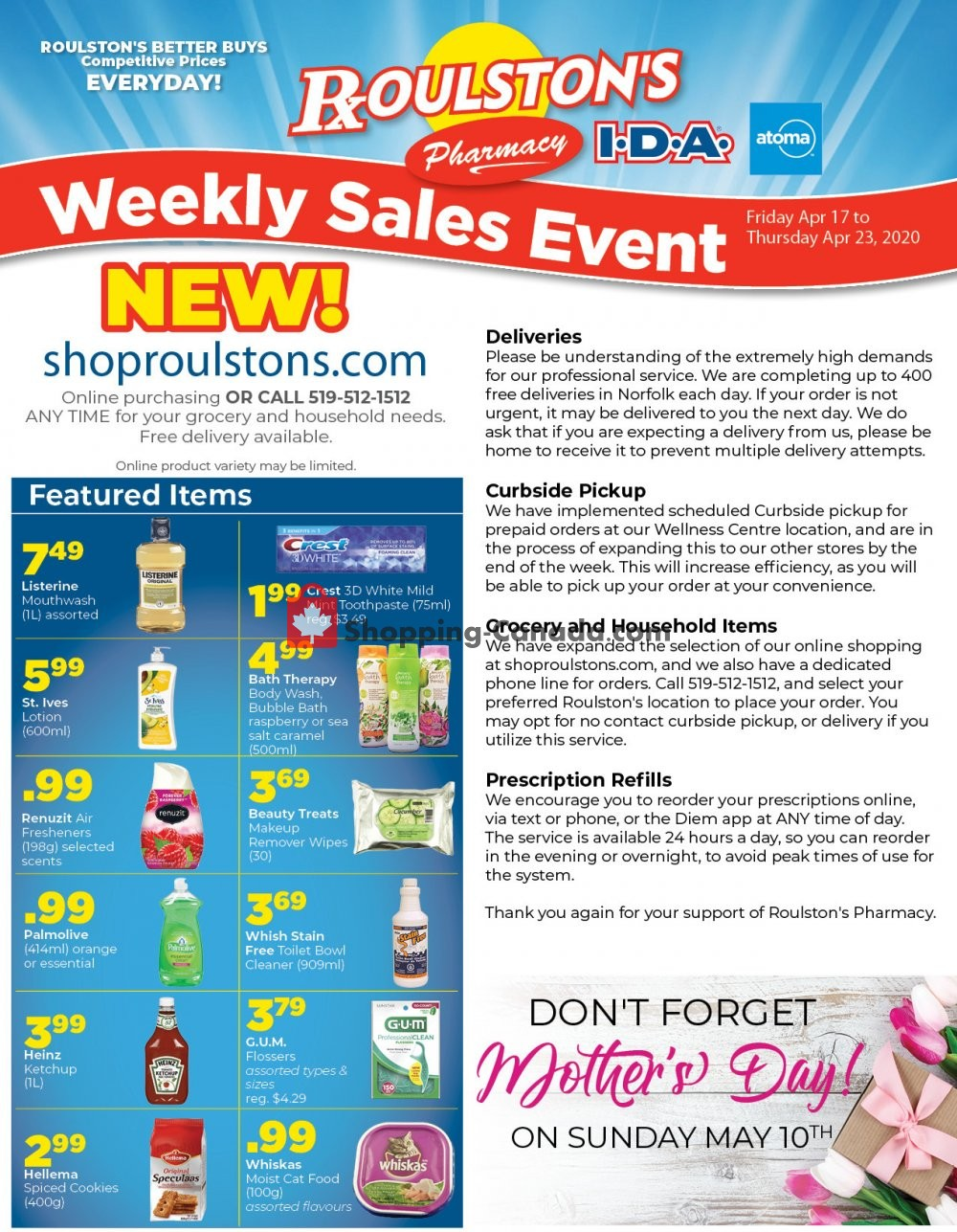 Flyer Roulston's Pharmacy Canada - from Friday April 17, 2020 to Thursday April 23, 2020