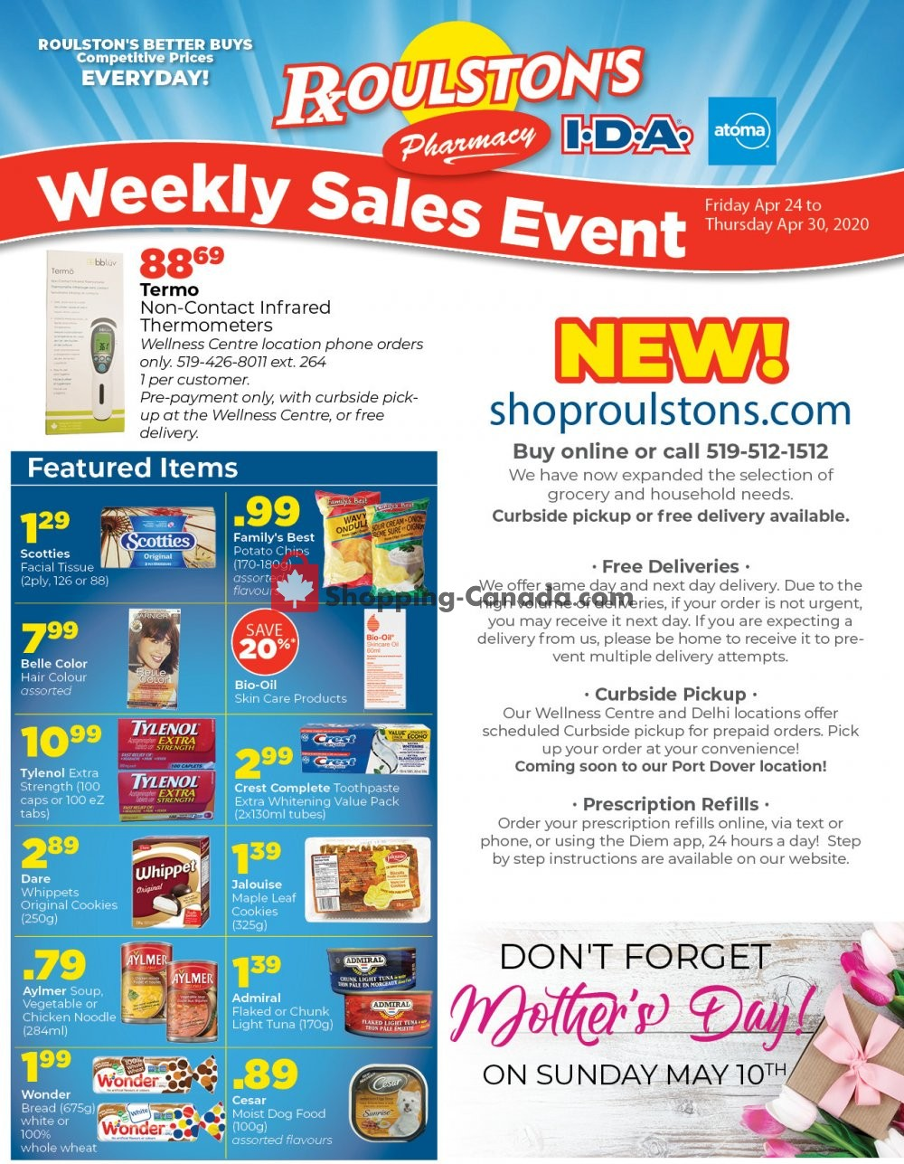 Flyer Roulston's Pharmacy Canada - from Friday April 24, 2020 to Thursday April 30, 2020