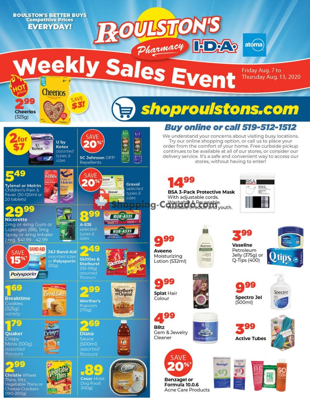 Flyer Roulston's Pharmacy Canada - from Friday August 7, 2020 to Thursday August 13, 2020