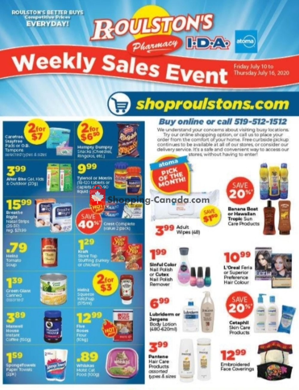 Flyer Roulston's Pharmacy Canada - from Friday July 10, 2020 to Thursday July 16, 2020