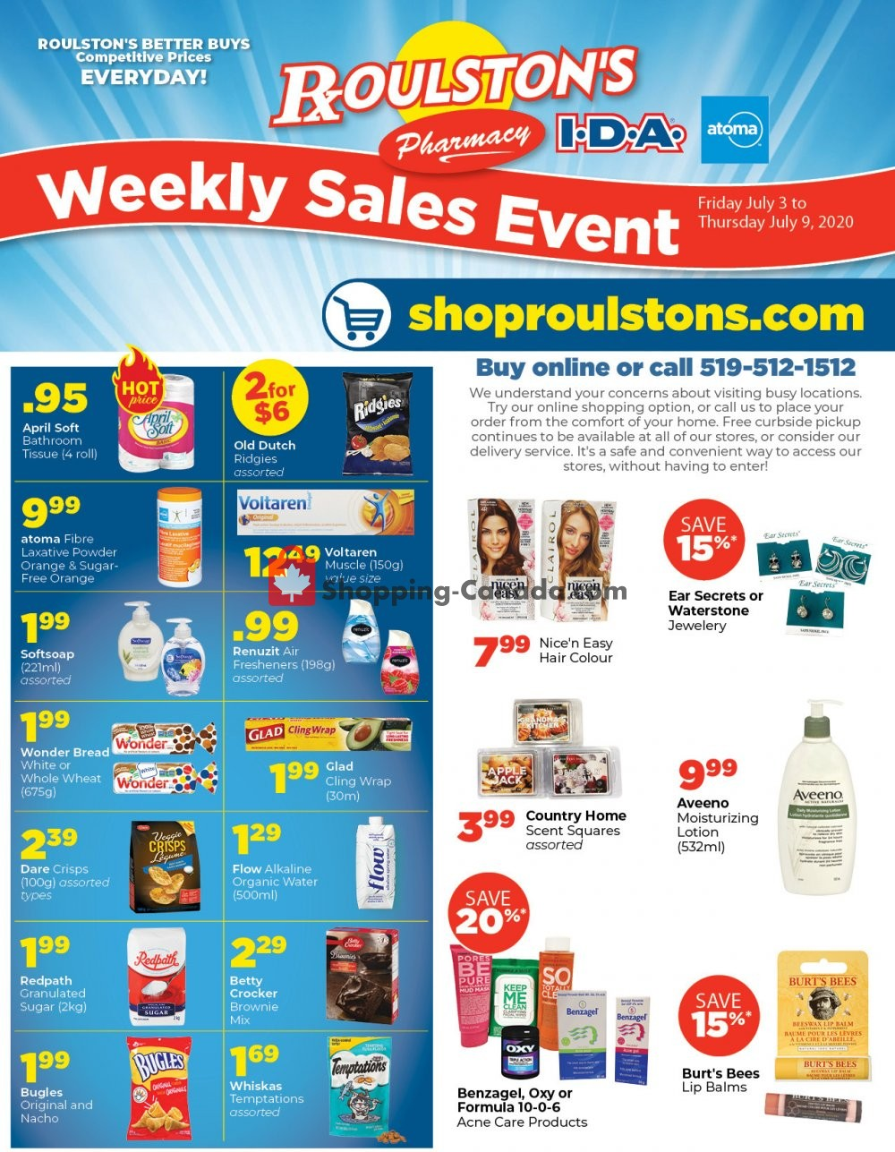 Flyer Roulston's Pharmacy Canada - from Friday July 3, 2020 to Thursday July 9, 2020