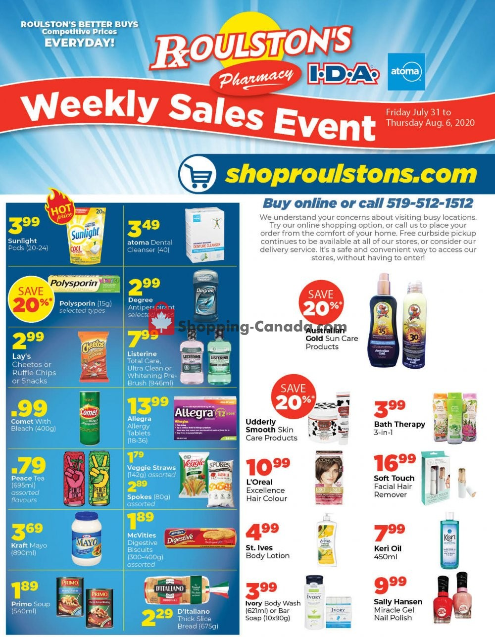 Flyer Roulston's Pharmacy Canada - from Friday July 31, 2020 to Thursday August 6, 2020