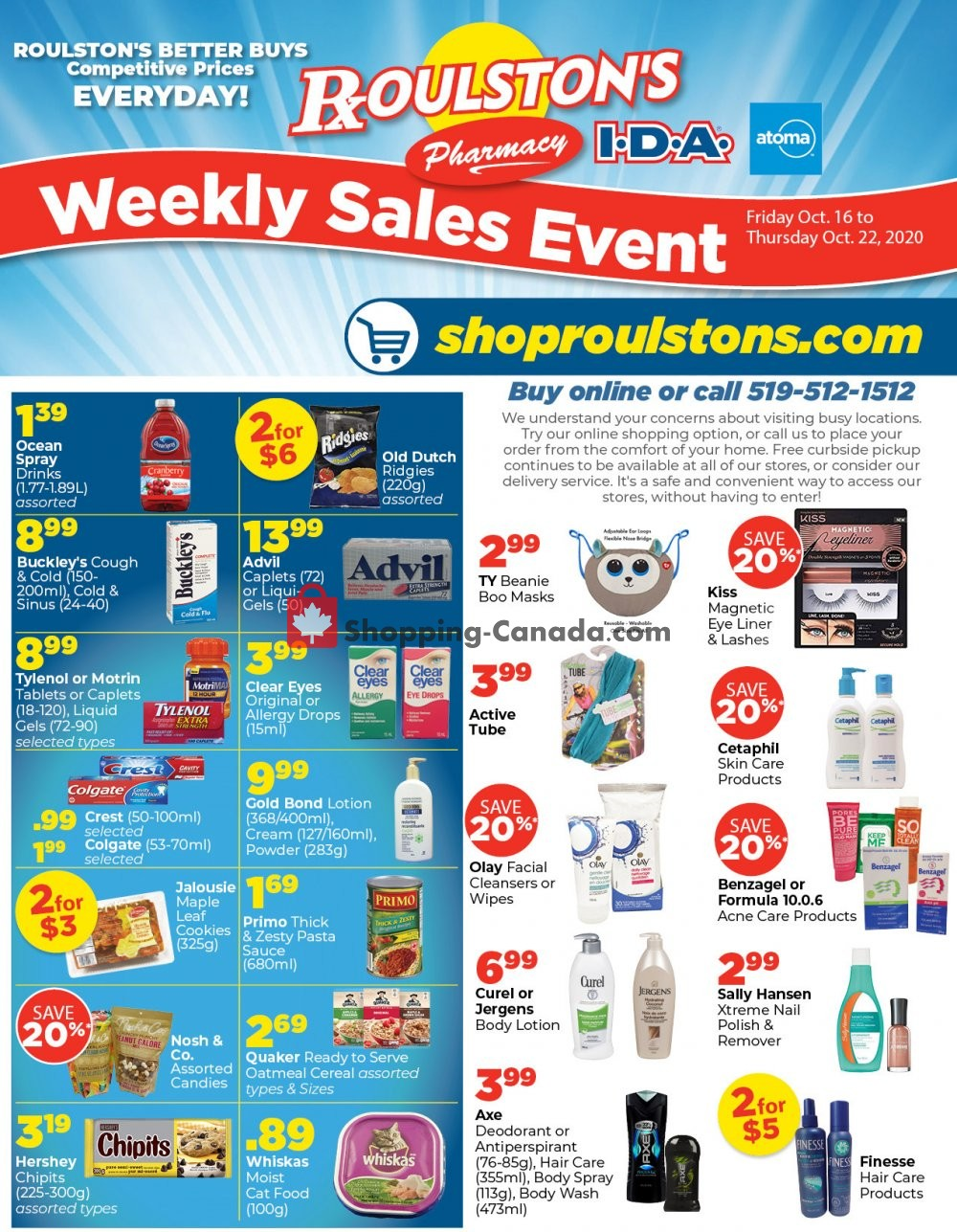 Flyer Roulston's Pharmacy Canada - from Friday October 16, 2020 to Thursday October 22, 2020