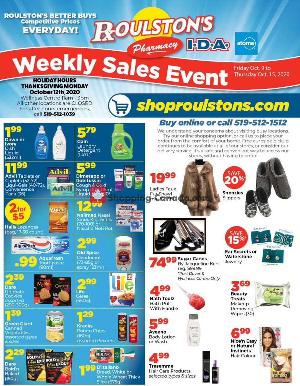 Flyer Roulston's Pharmacy Canada - from Friday October 9, 2020 to Thursday October 15, 2020