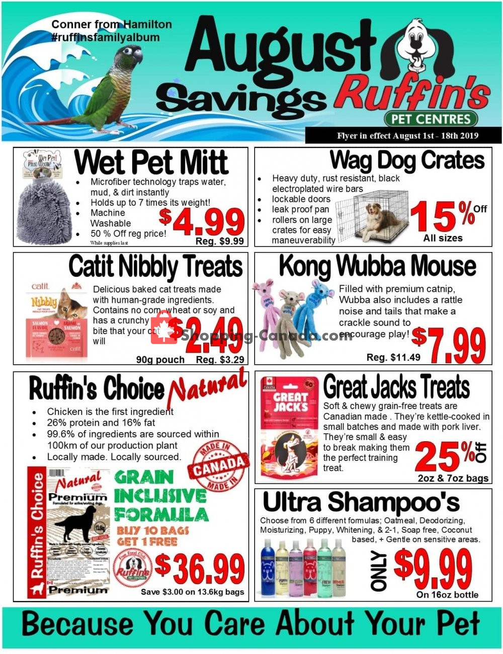Flyer Ruffin's Pet Centre Canada - from Thursday August 1, 2019 to Sunday August 18, 2019