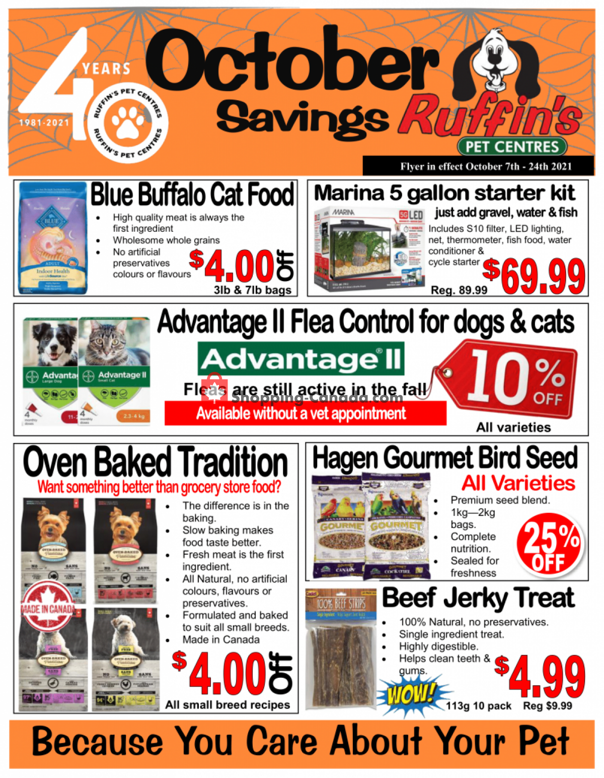 Flyer Ruffin's Pet Centre Canada - from Thursday October 7, 2021 to Sunday October 24, 2021