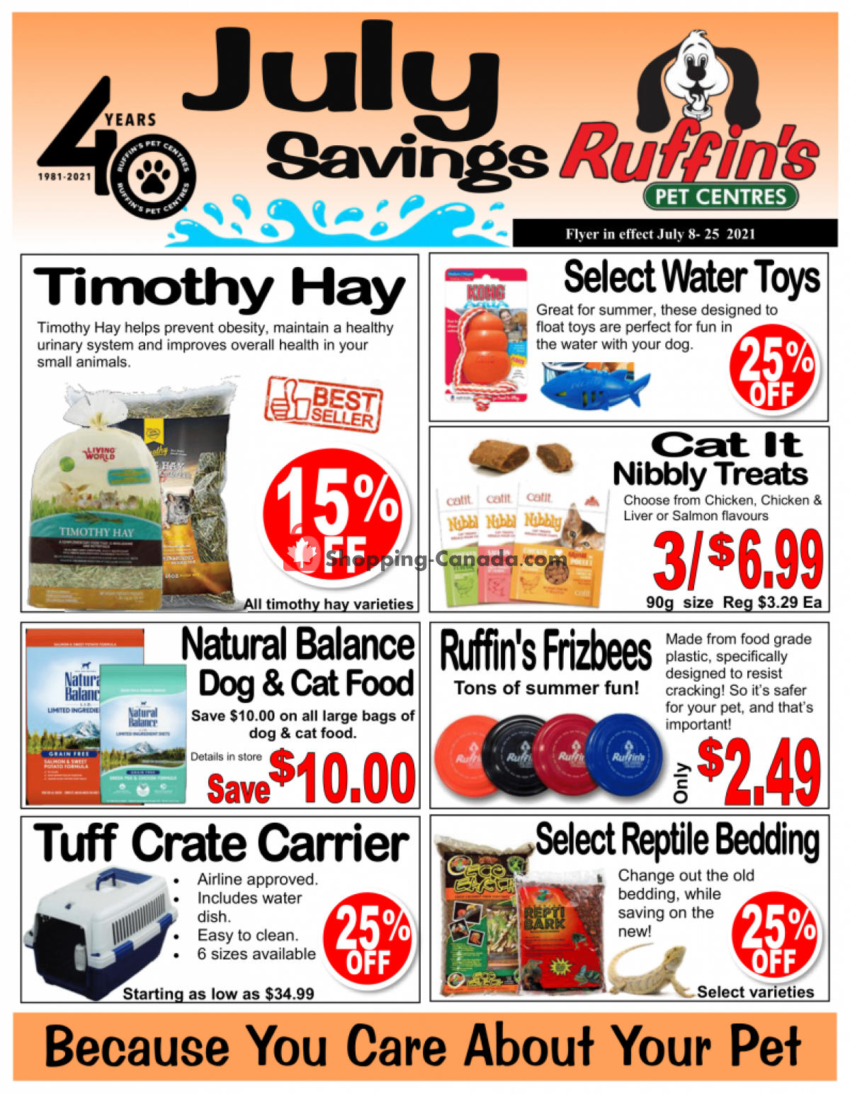 Flyer Ruffin's Pet Centre Canada - from Thursday July 8, 2021 to Sunday July 25, 2021