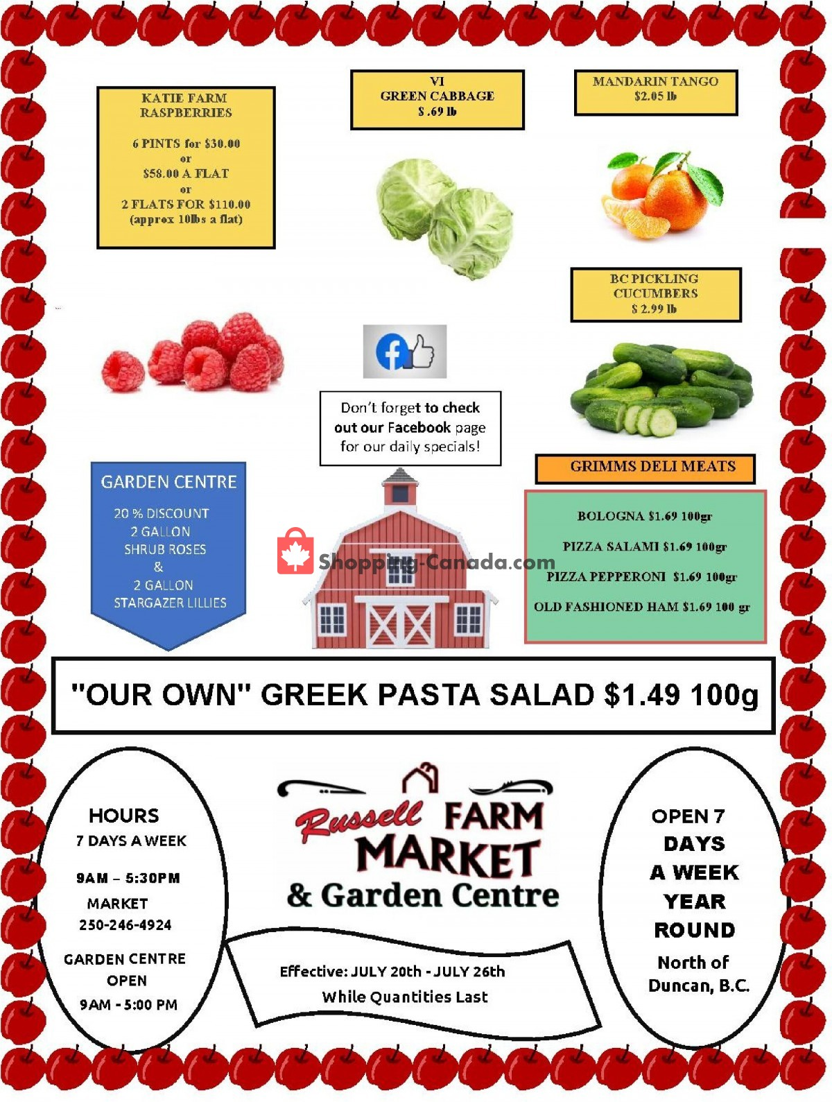 Flyer Russell Farm Market Canada - from Tuesday July 20, 2021 to Monday July 26, 2021