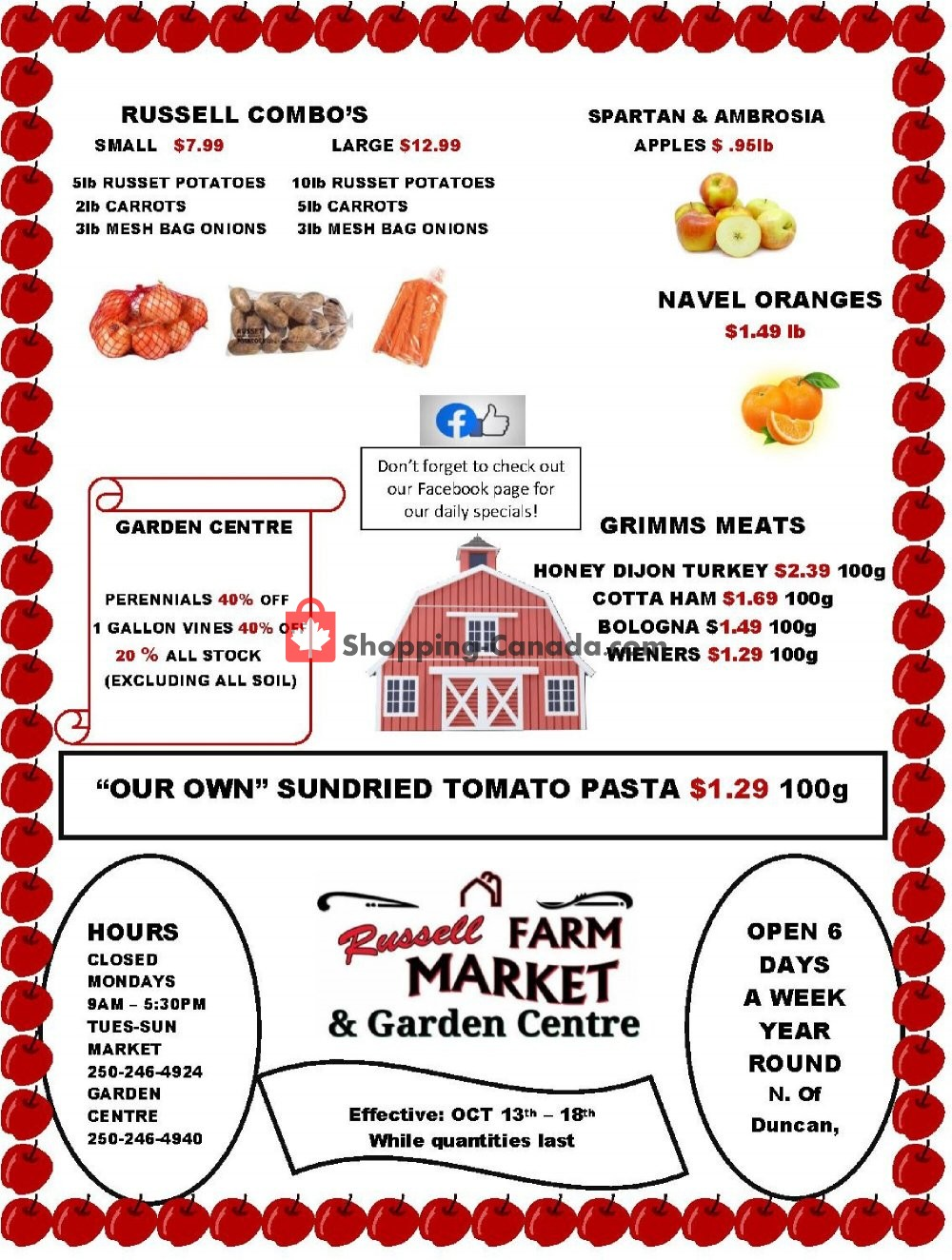 Flyer Russell Farm Market Canada - from Tuesday October 13, 2020 to Sunday October 18, 2020