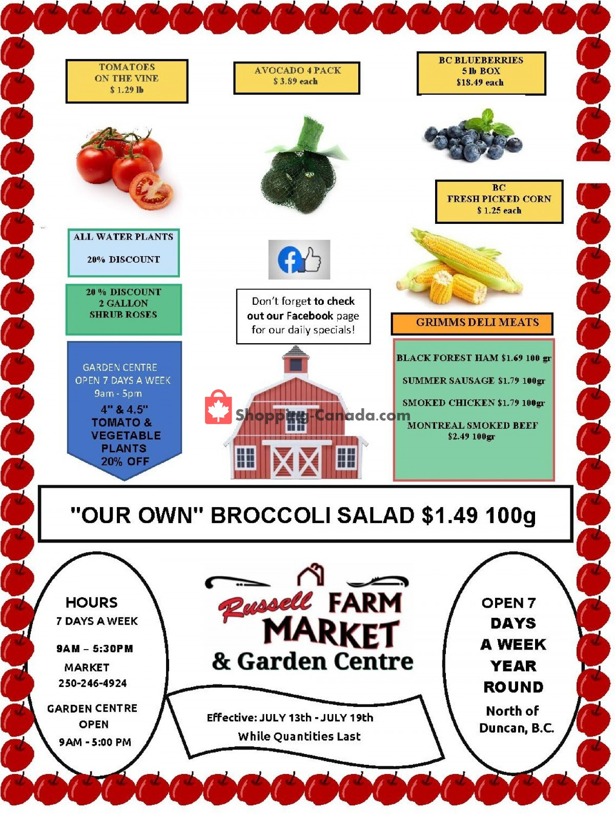 Flyer Russell Farm Market Canada - from Tuesday July 13, 2021 to Monday July 19, 2021