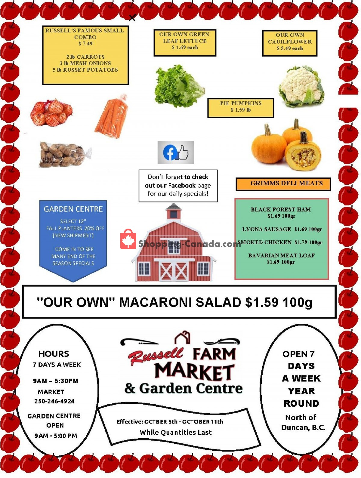 Flyer Russell Farm Market Canada - from Tuesday October 5, 2021 to Monday October 11, 2021