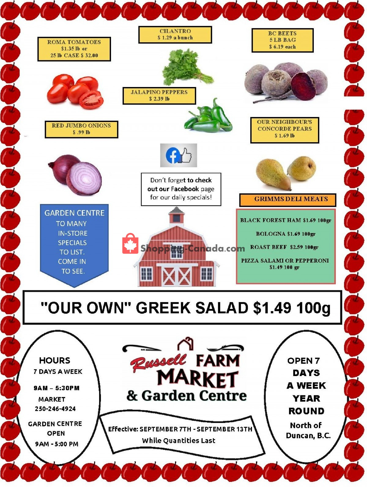 Flyer Russell Farm Market Canada - from Tuesday September 7, 2021 to Monday September 13, 2021