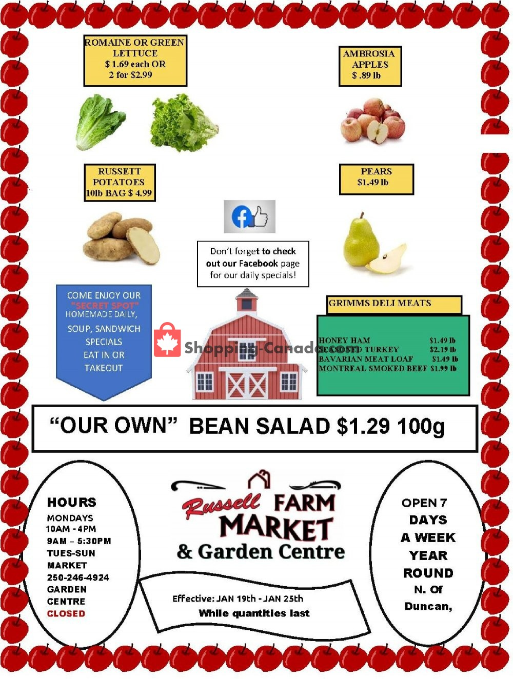 Flyer Russell Farm Market Canada - from Tuesday January 19, 2021 to Monday January 25, 2021