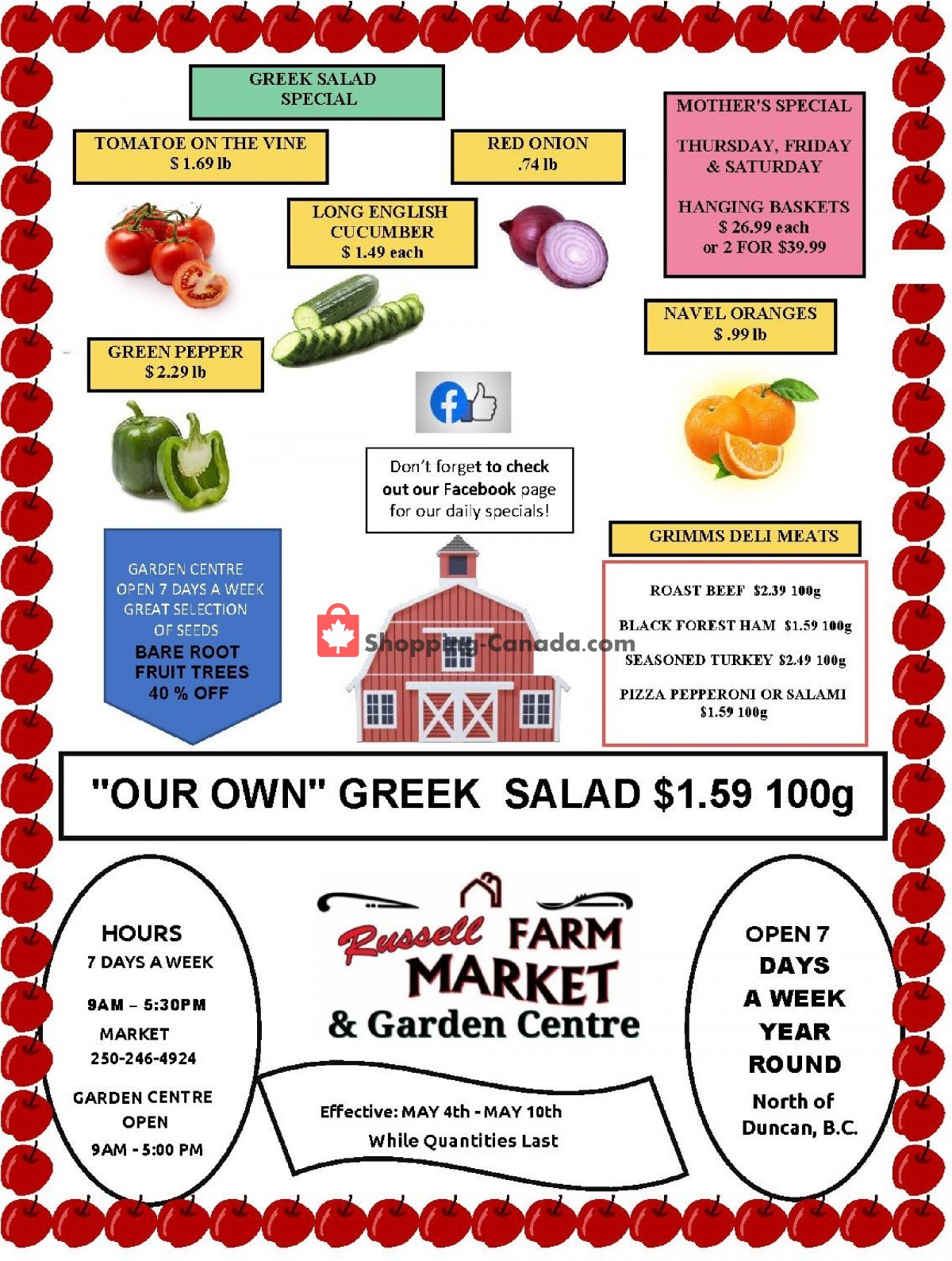 Flyer Russell Farm Market Canada - from Tuesday May 4, 2021 to Monday May 10, 2021