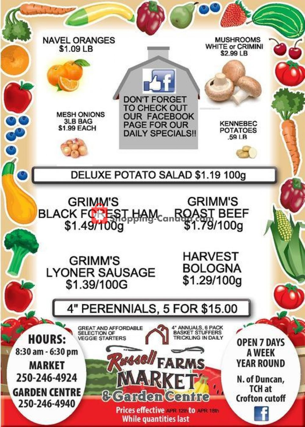 Flyer Russell Farm Market Canada - from Friday April 12, 2019 to Thursday April 18, 2019