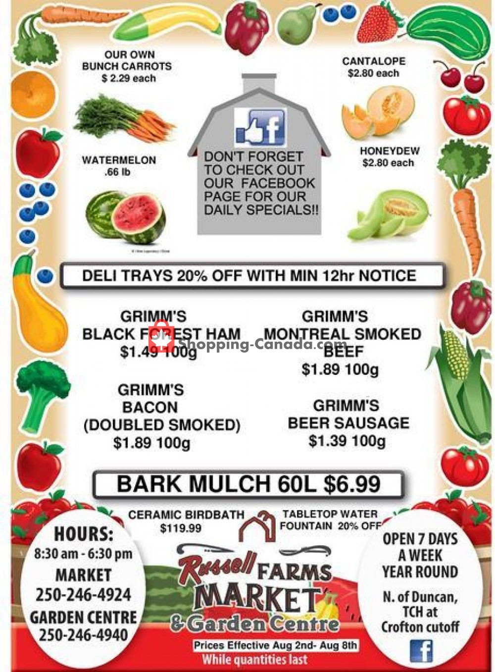 Flyer Russell Farm Market Canada - from Friday August 2, 2019 to Thursday August 8, 2019