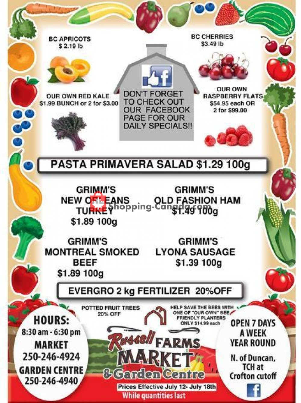 Flyer Russell Farms Market Canada - from Friday July 12, 2019 to Thursday July 18, 2019