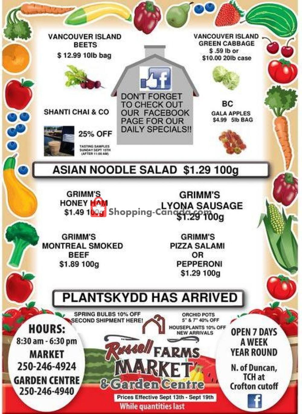 Flyer Russell Farm Market Canada - from Friday September 13, 2019 to Thursday September 19, 2019