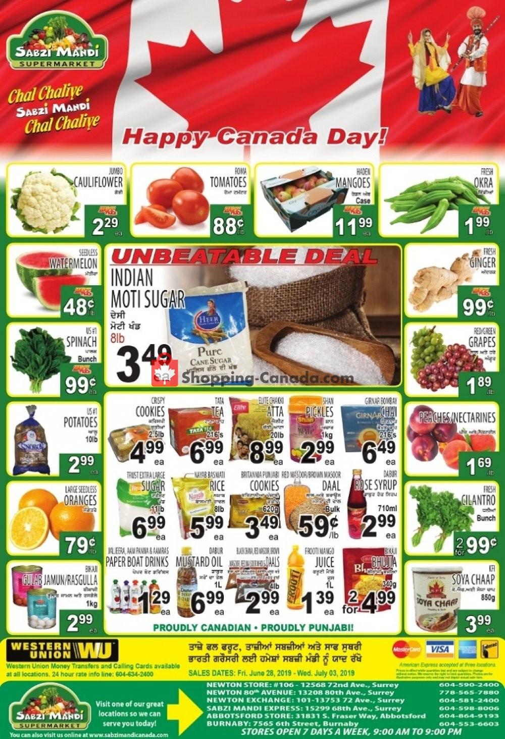 Flyer Sabzi Mandi Supermarket Canada - from Friday June 28, 2019 to Wednesday July 3, 2019