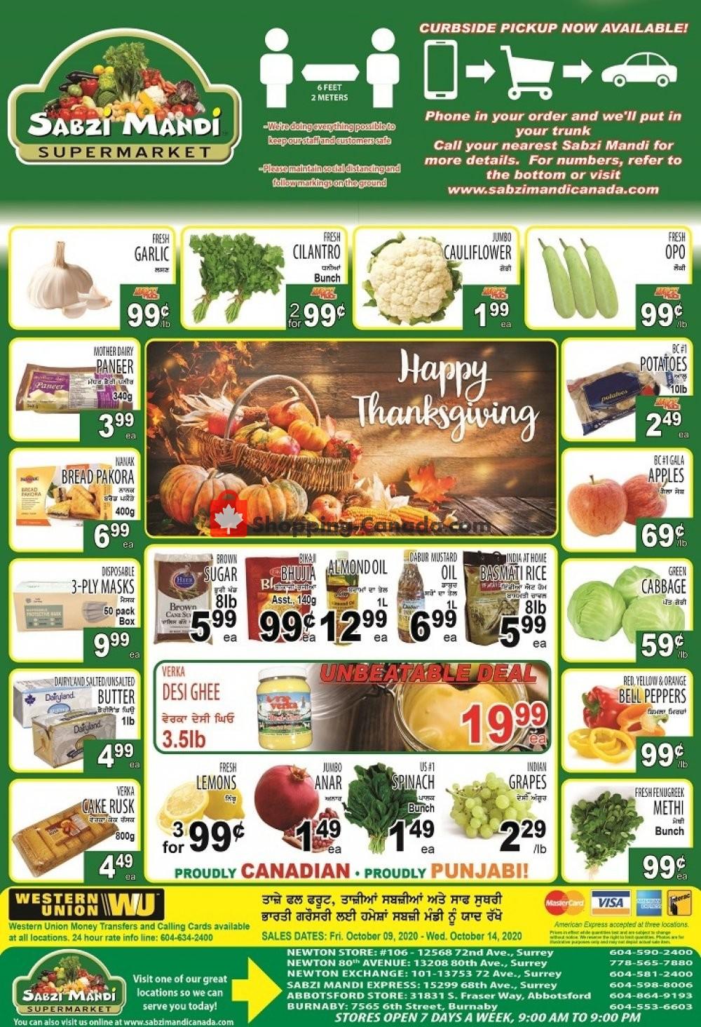 Flyer Sabzi Mandi Supermarket Canada - from Friday October 9, 2020 to Wednesday October 14, 2020