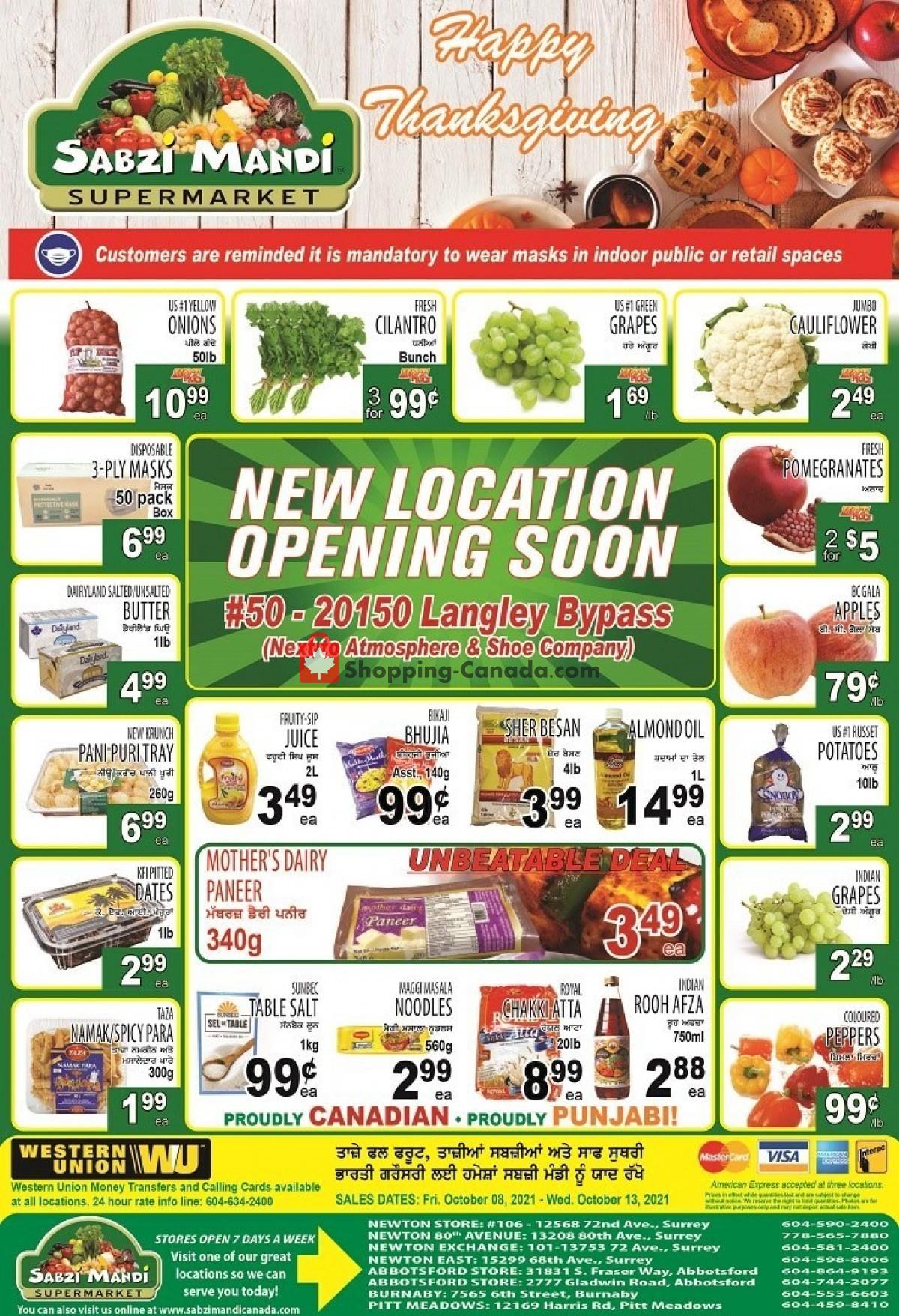 Flyer Sabzi Mandi Supermarket Canada - from Friday October 8, 2021 to Wednesday October 13, 2021