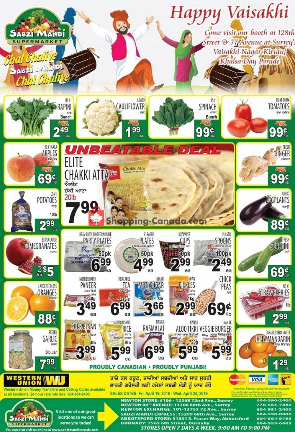 Flyer Sabzi Mandi Supermarket Canada - from Friday April 19, 2019 to Wednesday April 24, 2019