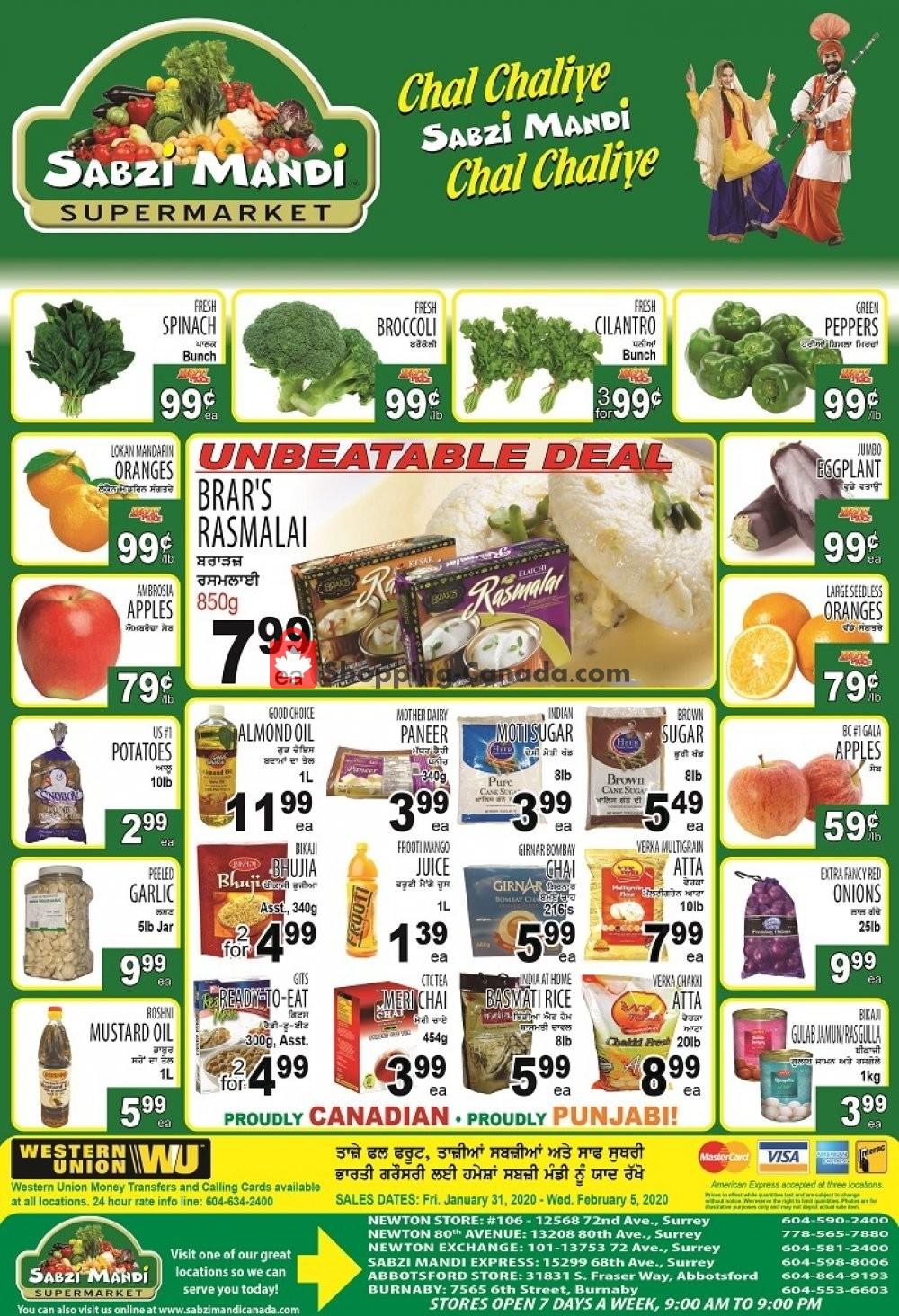 Flyer Sabzi Mandi Supermarket Canada - from Friday January 31, 2020 to Wednesday February 5, 2020