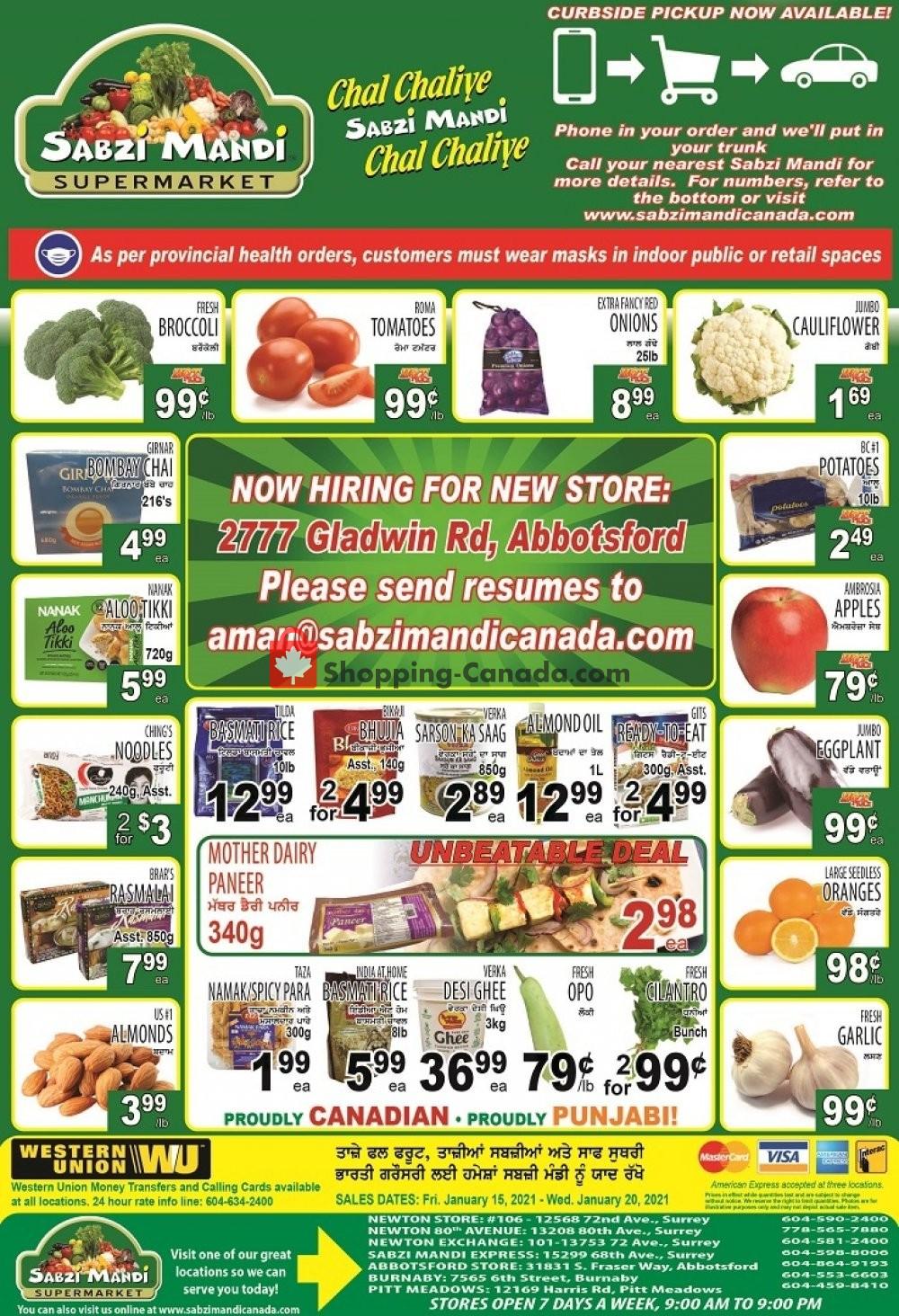 Flyer Sabzi Mandi Supermarket Canada - from Friday January 15, 2021 to Wednesday January 20, 2021