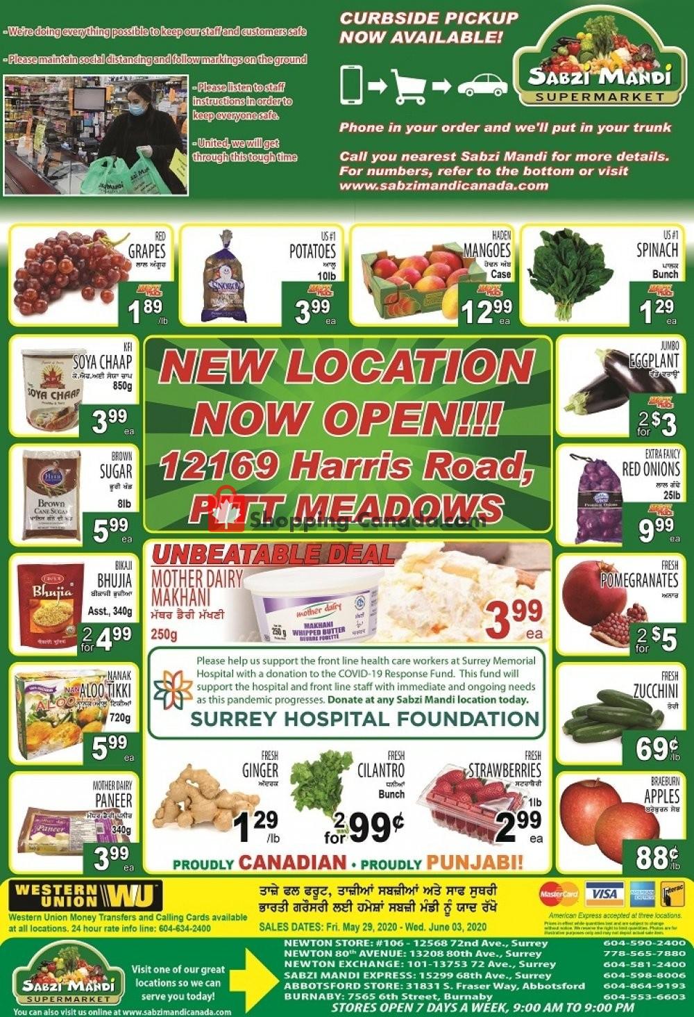 Flyer Sabzi Mandi Supermarket Canada - from Friday May 29, 2020 to Wednesday June 3, 2020