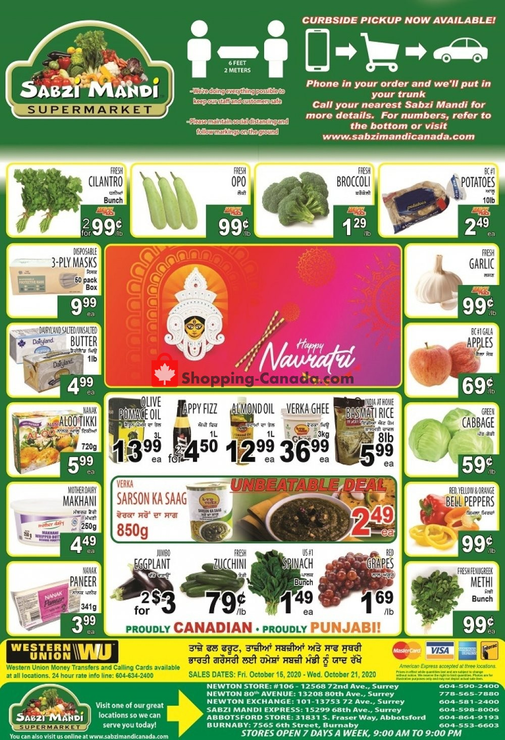 Flyer Sabzi Mandi Supermarket Canada - from Thursday October 15, 2020 to Wednesday October 21, 2020