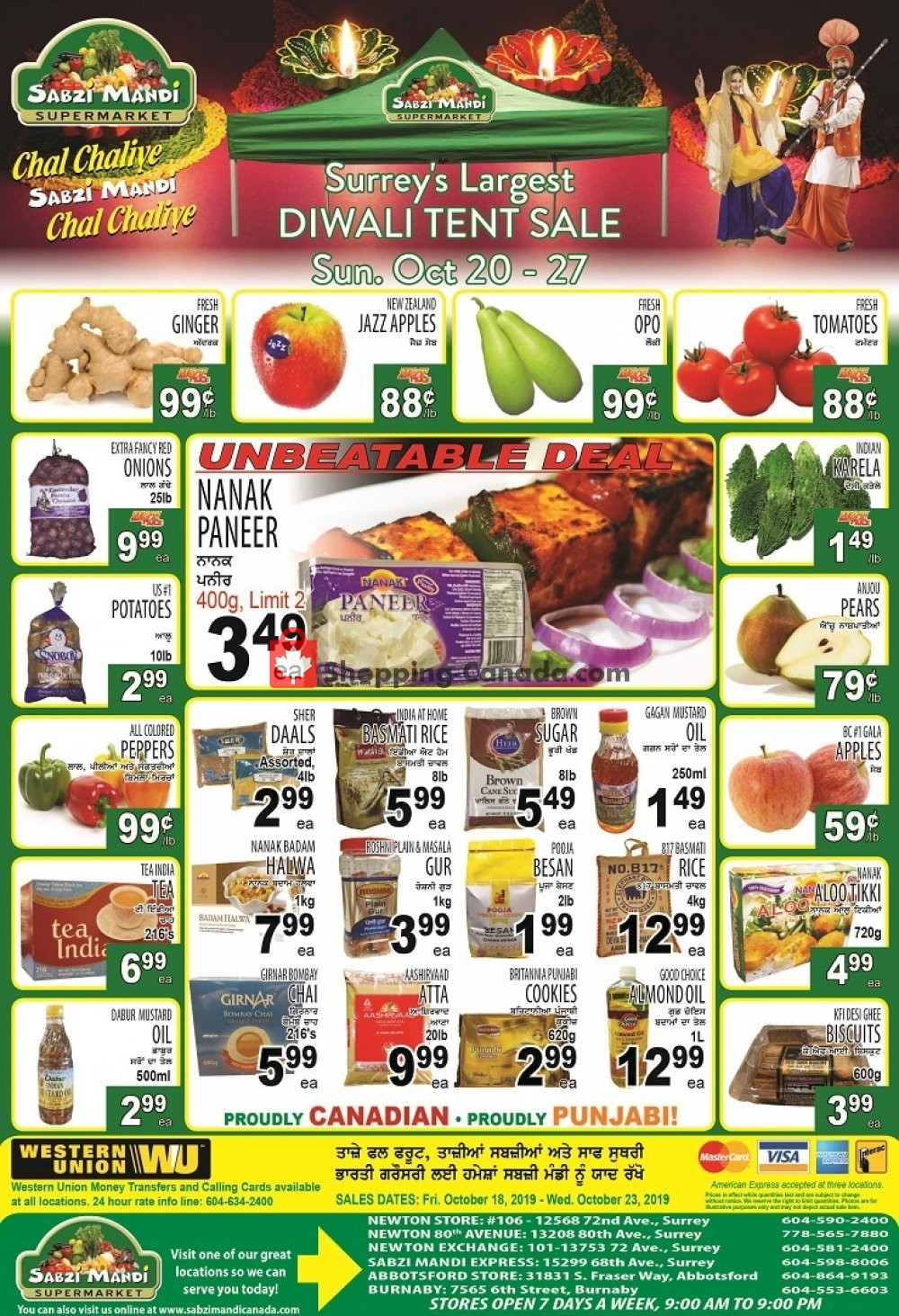 Flyer Sabzi Mandi Supermarket Canada - from Friday October 18, 2019 to Wednesday October 23, 2019