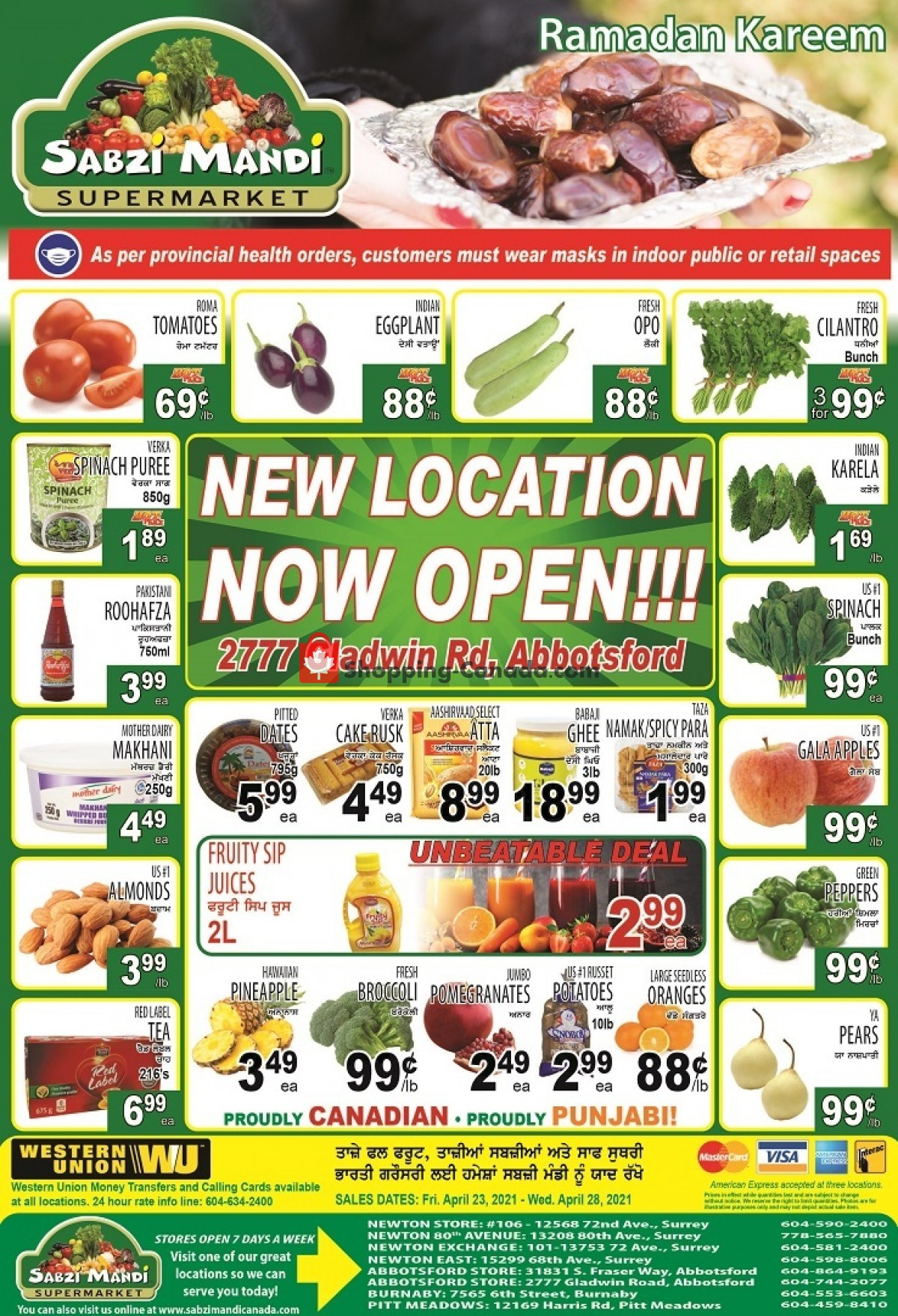 Flyer Sabzi Mandi Supermarket Canada - from Friday April 23, 2021 to Wednesday April 28, 2021