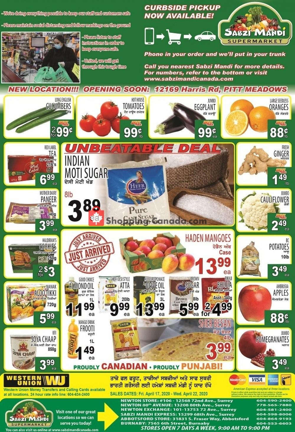 Flyer Sabzi Mandi Supermarket Canada - from Friday April 17, 2020 to Wednesday April 22, 2020