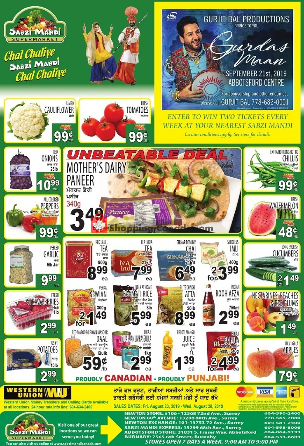 Flyer Sabzi Mandi Supermarket Canada - from Friday August 23, 2019 to Wednesday August 28, 2019