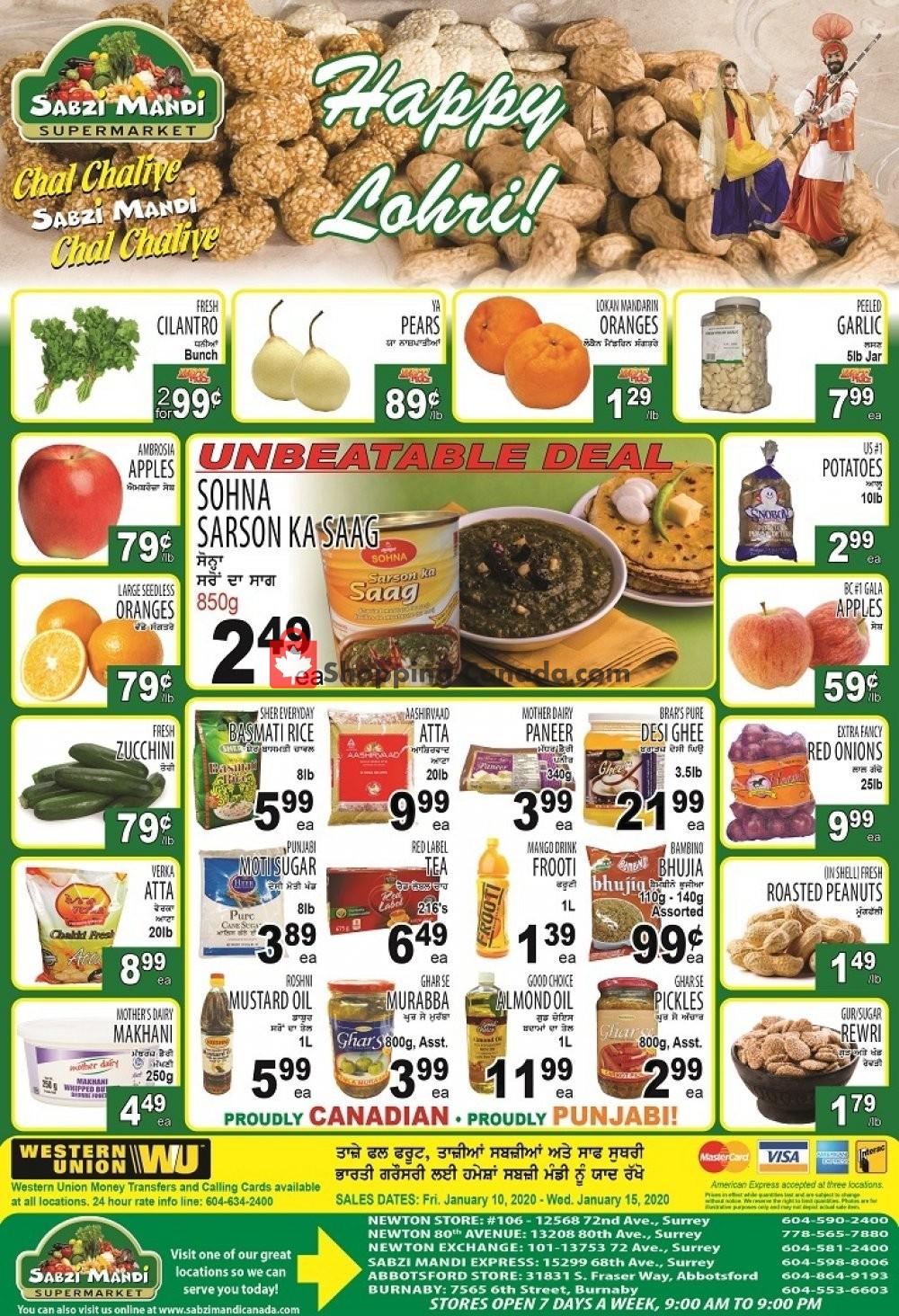 Flyer Sabzi Mandi Supermarket Canada - from Friday January 10, 2020 to Wednesday January 15, 2020
