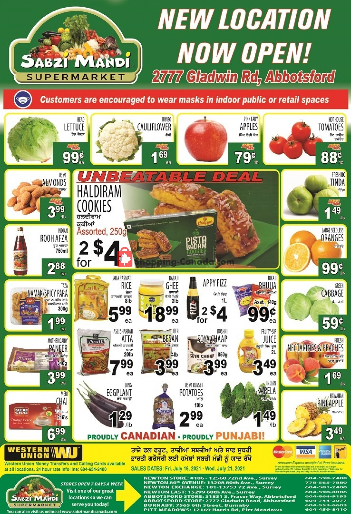 Flyer Sabzi Mandi Supermarket Canada - from Friday July 16, 2021 to Wednesday July 21, 2021