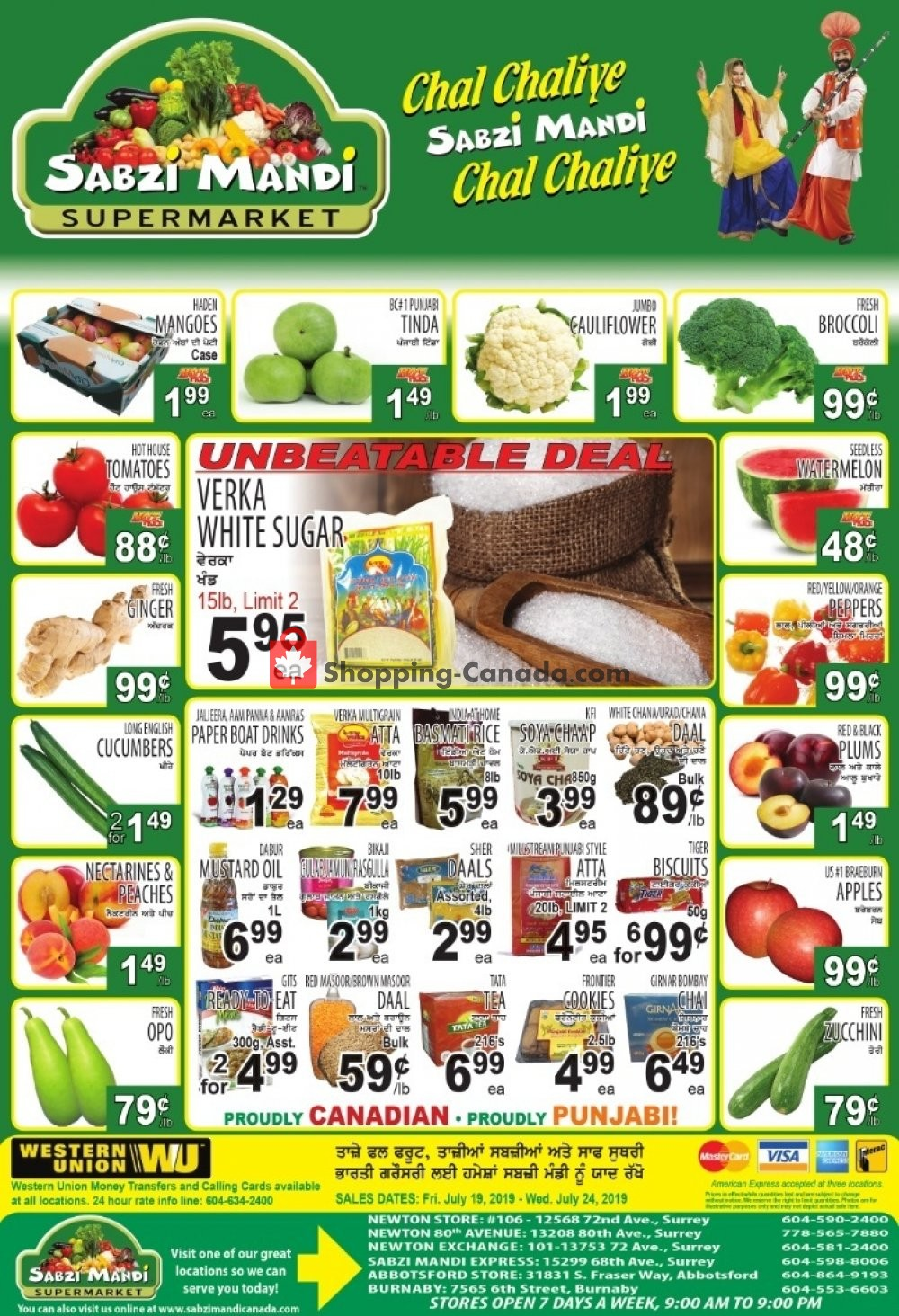 Flyer Sabzi Mandi Supermarket Canada - from Friday July 19, 2019 to Wednesday July 24, 2019