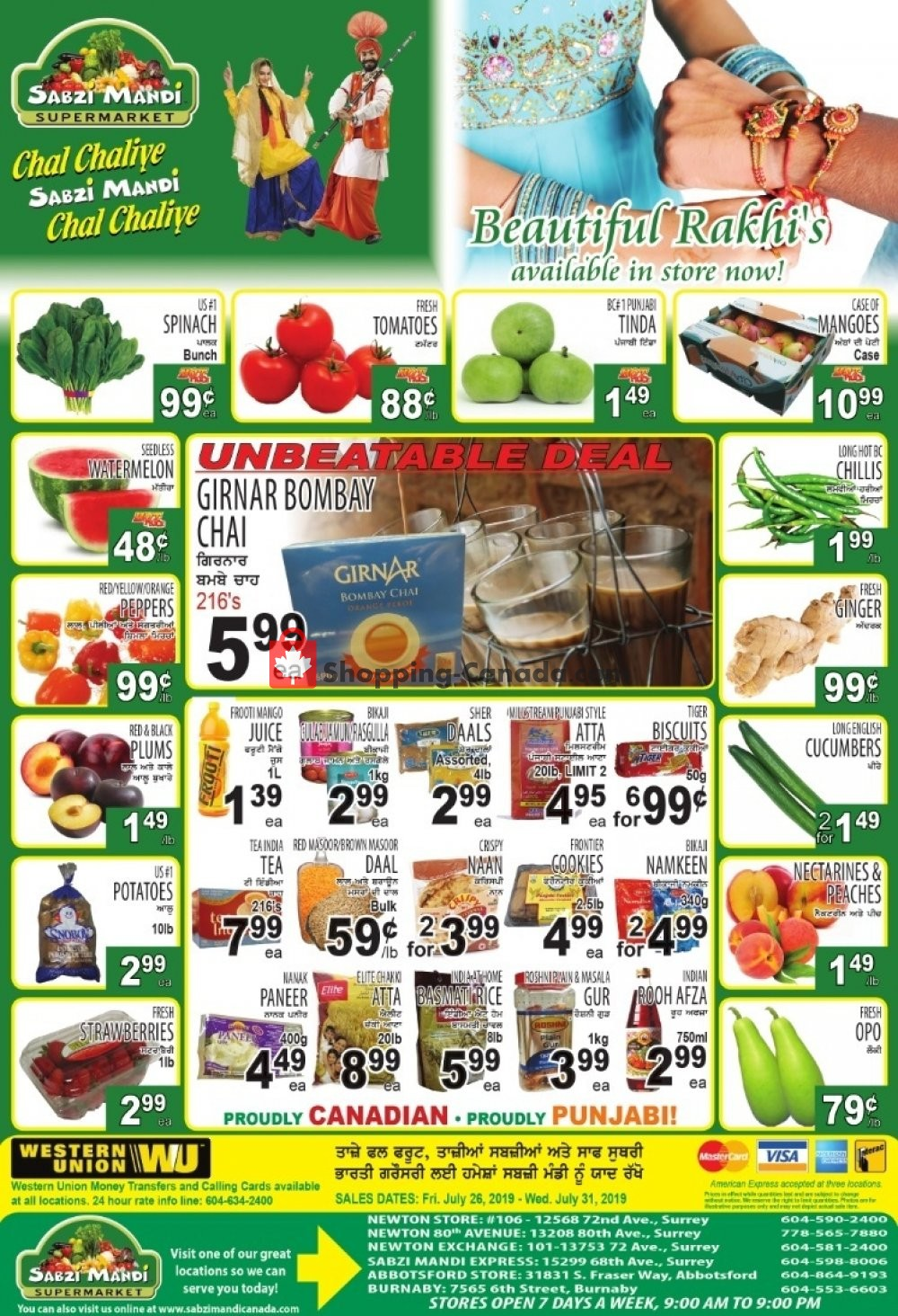Flyer Sabzi Mandi Supermarket Canada - from Friday July 26, 2019 to Wednesday July 31, 2019