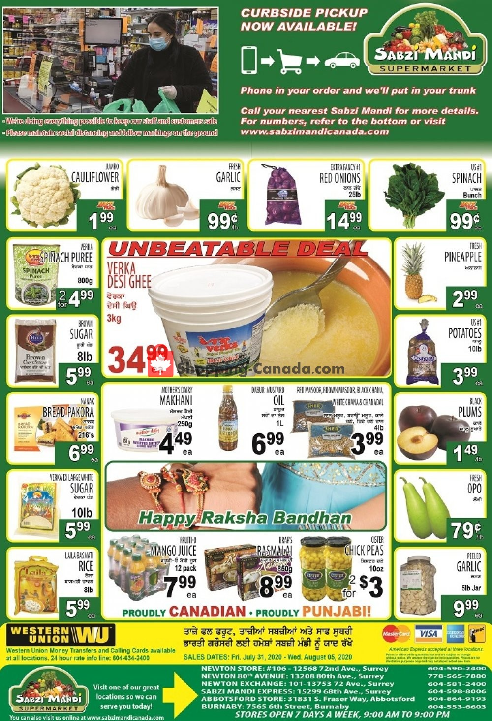 Flyer Sabzi Mandi Supermarket Canada - from Friday July 31, 2020 to Wednesday August 5, 2020