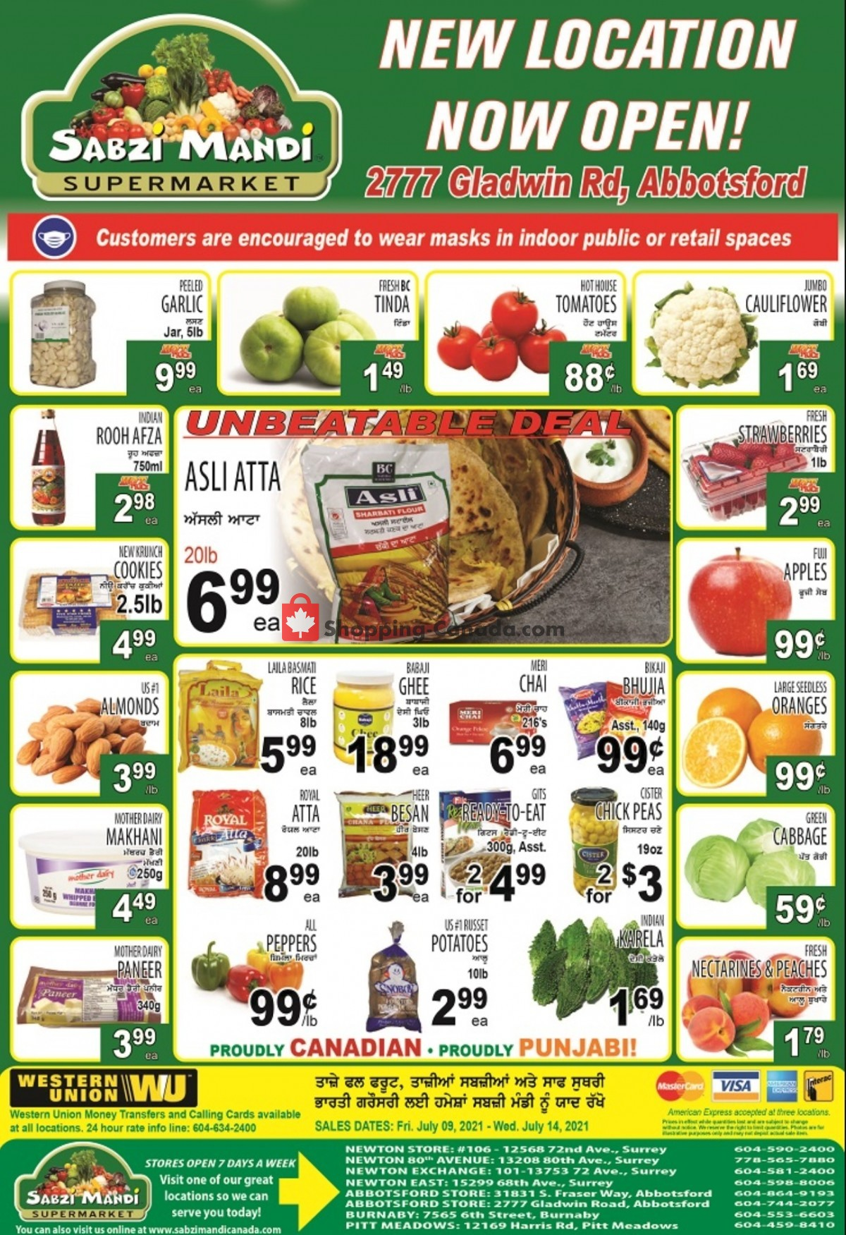 Flyer Sabzi Mandi Supermarket Canada - from Friday July 9, 2021 to Wednesday July 14, 2021